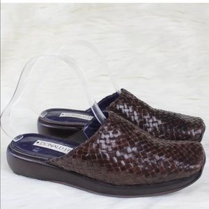 Donald J Pliner Brown Woven Leather Mules Size 7.5